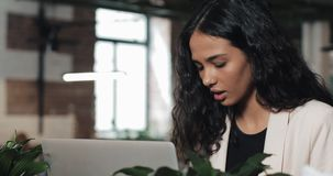Young busy beautiful business woman suffering stress working at office computer. Hard work, deadline concept.  stock video footage