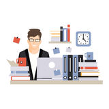 Young busy businessman character sitting at the computer desk with laptop and working hard, daily life of office Stock Photography