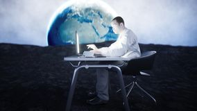 Young busy businessman working on the moon.Space. African male looking into the screen of the laptop on the desk. Creative workspace concept. 3d rendering Royalty Free Stock Image
