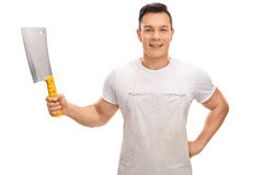 Young butcher holding a cleaver Royalty Free Stock Photography