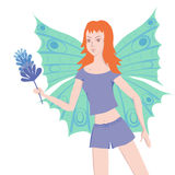 Young butterfly lady with duster Royalty Free Stock Image
