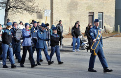 Young cadets. Photo was taken during Canadian Remembrance Day ceremonies in Winnipeg City, Manitoba province, Canada. on November 11, 2013. Location St. Phillips Royalty Free Stock Image