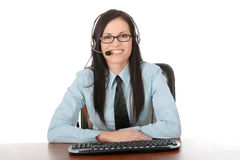 Young call cener worker Royalty Free Stock Photo