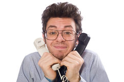 Young call center employee on white Stock Image