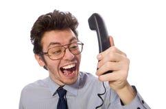 Young call center employee on white Stock Photos