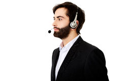 Young call center man. Young handsome smiling call center man Royalty Free Stock Image