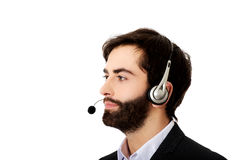 Young call center man. Young handsome smiling call center man Stock Images