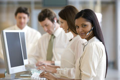 Young call center woman Royalty Free Stock Images