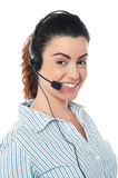 Young call center woman with headset Stock Photography