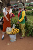 Young Cambodian woman sells fruit Royalty Free Stock Photography