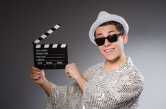 Young camera assistant with the clapperboard Stock Image
