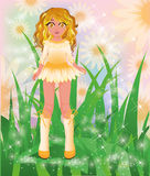Young camomile girl Stock Image