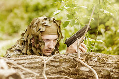 Young Camouflaged military man Royalty Free Stock Photos
