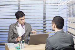 Young candidate at the job interview - concept.  royalty free stock photography