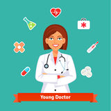 Young cardiologist doctor. Set of medicine icons Stock Photos