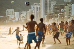 Young Carioca Brazilians Playing Altinho Beach Football Royalty Free Stock Images