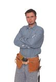 Young carpenter. With arms crossed isolated Royalty Free Stock Photography