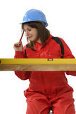 Young carpenter apprentice Royalty Free Stock Images
