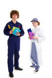 Young carpenter and female cook at school Royalty Free Stock Photo