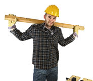 Young carpenter rest Royalty Free Stock Image