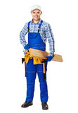 Young carpenter whis wooden plank Royalty Free Stock Images