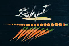 Young Carrot and onion. Cooking with fresh vegetables Stock Photo