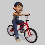 Young Cartoon Boy By Bike Stock Image