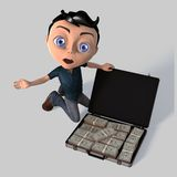 Young Cartoon Boy With Money Stock Image