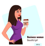 Young cartoon businesswoman with coffee, wearing a free dress style. Beautiful brunette girl having a rest while coffee break. Stock Image