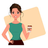 Young cartoon businesswoman with cute hairdo holding coffee. Beautiful girl having a rest while coffee break. Royalty Free Stock Photography