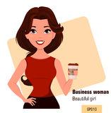 Young cartoon businesswoman dressed in office clothes standing with coffee while coffee-break. Stock Image