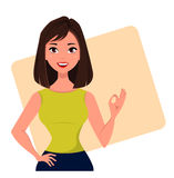 Young cartoon businesswoman showing OK gesture, wearing a free dress style. Beautiful brunette girl . Fashionable modern lady. Stock Photography