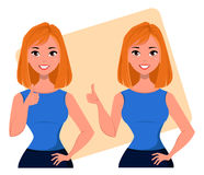 Young cartoon businesswoman showing thumb up gesture, agreeing business idea, successful startup project. Beautiful business woman Royalty Free Stock Photography