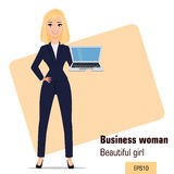 Young cartoon businesswoman standing. Beautiful blonde girl in office clothes holding laptop. Royalty Free Stock Images
