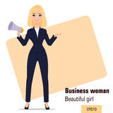 Young cartoon businesswoman standing. Beautiful blonde girl in office clothes holding mouthpiece. Stock Photo
