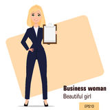 Young cartoon businesswoman standing. Beautiful blonde girl in office clothes showing checklist Royalty Free Stock Image