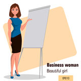 Young cartoon businesswoman standing near office board making presentation. Beautiful girl presenting business plan, startup. Stock Photo