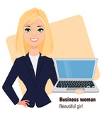 Young cartoon businesswoman wearing business style clothing. Fashionable blond modern lady. Stock Photo