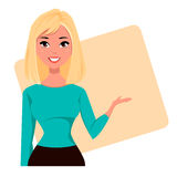 Young cartoon businesswoman wearing business style clothing. Fashionable blond modern lady. Royalty Free Stock Images