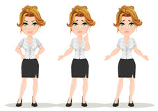 Young cartoon businesswomen. Set. Beautiful girl in working situations. Fashionable modern lady showing negative emotions, angry, crying, disappointed. Vector Stock Photos