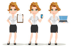 Young cartoon businesswomen. Set. Beautiful smiling girl in working situations. Fashionable modern lady holding blank clipboard, holding smartphone and holding Royalty Free Stock Photos