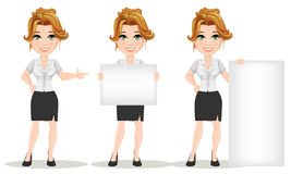 Young cartoon businesswomen. Set. Beautiful smiling girl in working situations. Fashionable modern lady making pointing gesture, holding banner and standing Royalty Free Stock Photos