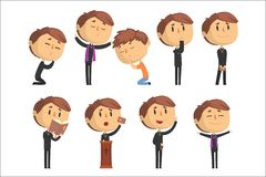 Free Young Cartoon Catholic Priest Reading Prayer, Blessing Parishioners, Holding Cross, Bible And Gospel Set Of Vector Stock Photo - 125407240