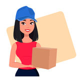 Young cartoon girl from courier delivery services holding large cardboard box. Packaging for delivery of the goods Stock Image