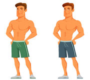 Young cartoon guy flaunting his muscles Royalty Free Stock Photography