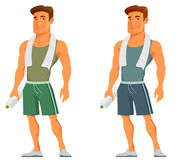 Young cartoon guy in sportswear Stock Images