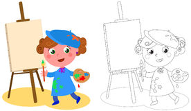 Young cartoon painter coloring vector stock illustration