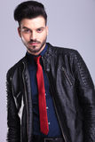 Young casual business man wearing a leather jacket Royalty Free Stock Image