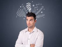 Businessman with scribbles Royalty Free Stock Images