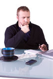 Young Casual Businessman Working at his Desk Royalty Free Stock Photography